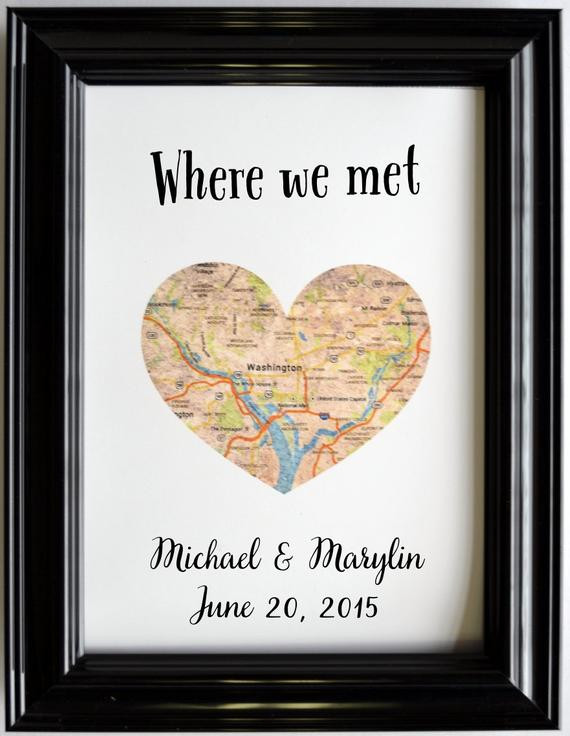 Gift Ideas For Anniversary Couple  Custom Wedding Anniversary Gift For Couples Personalized Map
