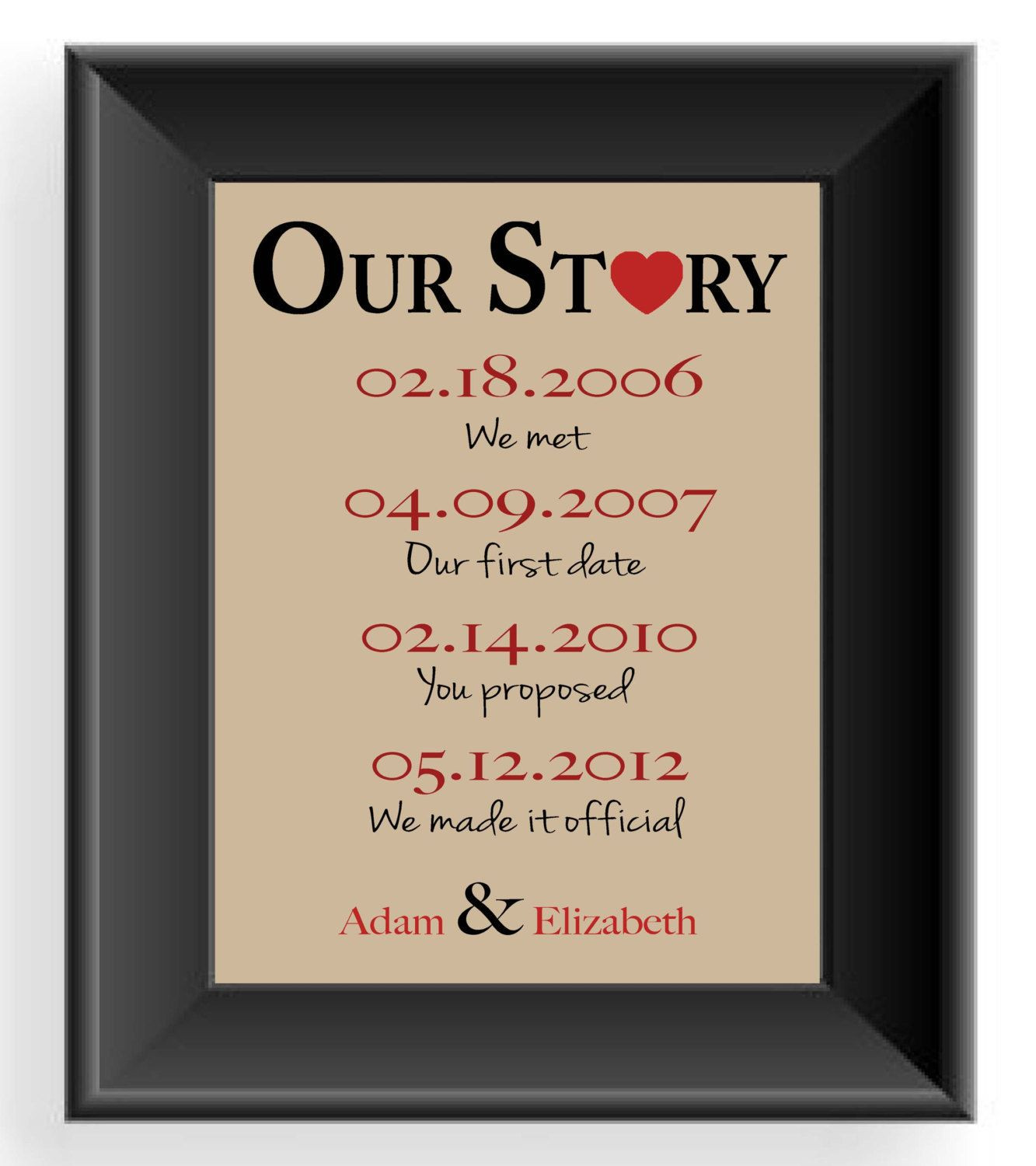 Gift Ideas For Anniversary Couple  Valentine s Day Gift Important Dates Wedding Gift for