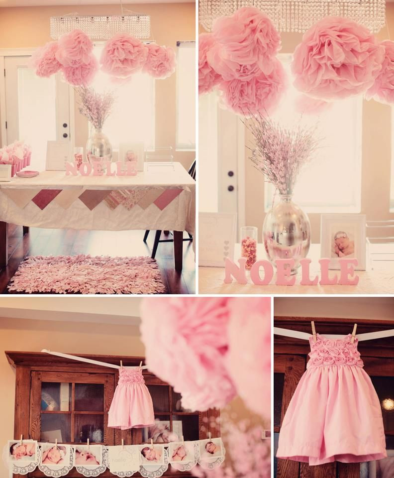Gift Table Baby Shower Ideas  Gift Table SANAI pink Letters baby pink & White Poms