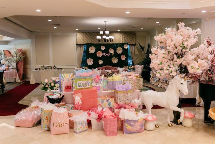 Gift Table Baby Shower Ideas  Kara s Party Ideas Enchanted Garden Baby Shower