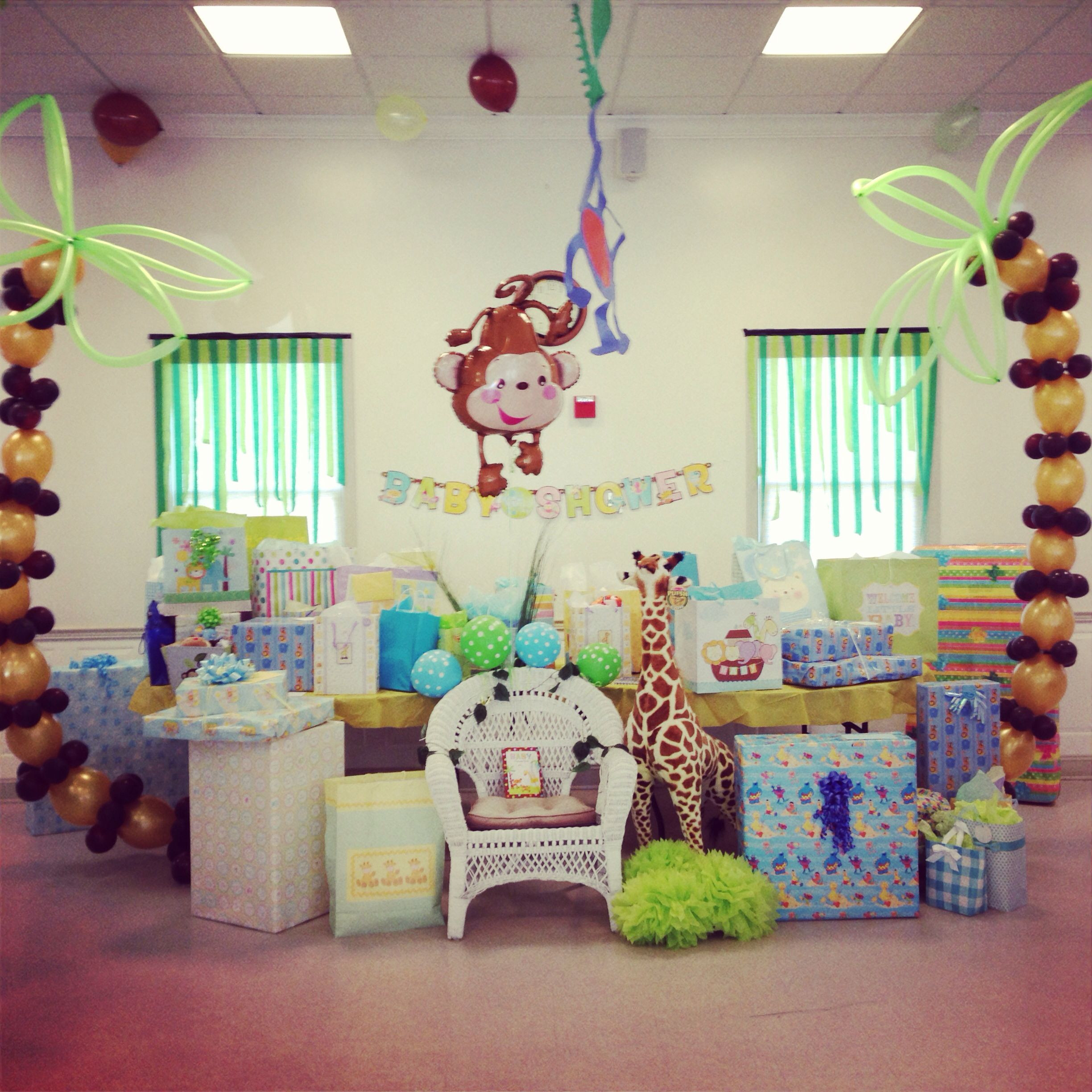 Gift Table Baby Shower Ideas  Gift table jungle themed baby shower Baby shower