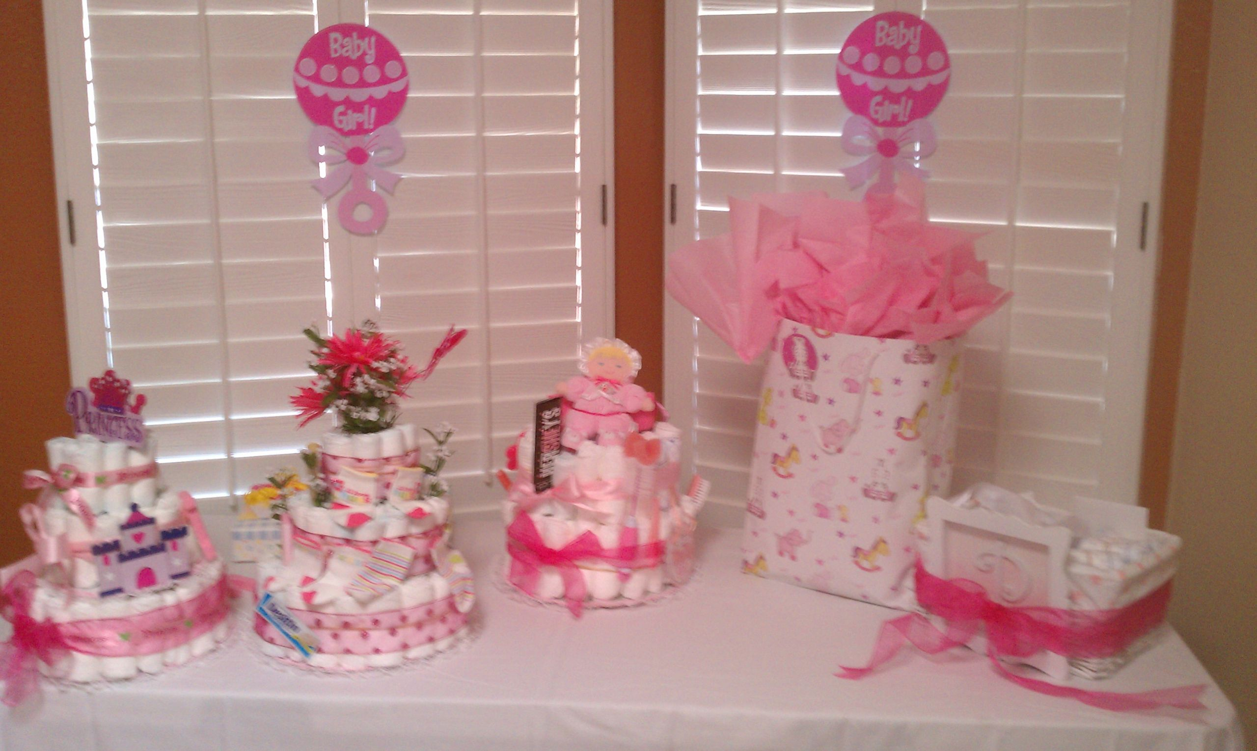 Gift Table Baby Shower Ideas  Tables Chairs Pink Linens Baby Shower