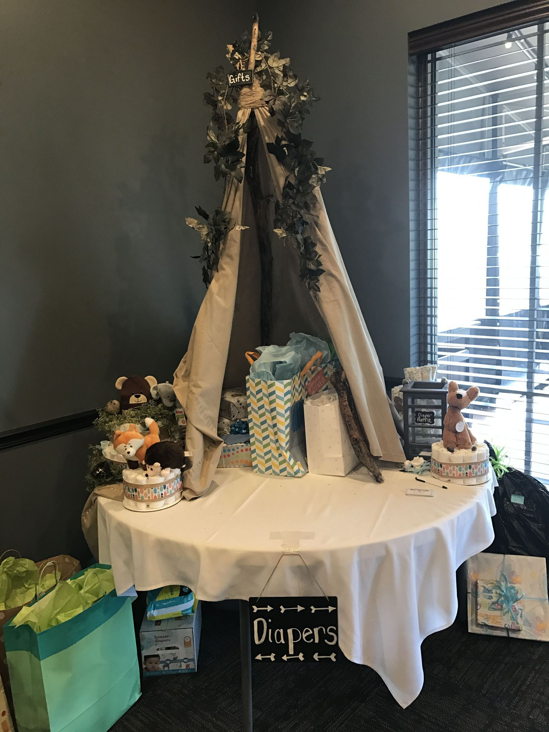 Gift Table Baby Shower Ideas  DIY tipi woodland theme baby shower t tent and diaper