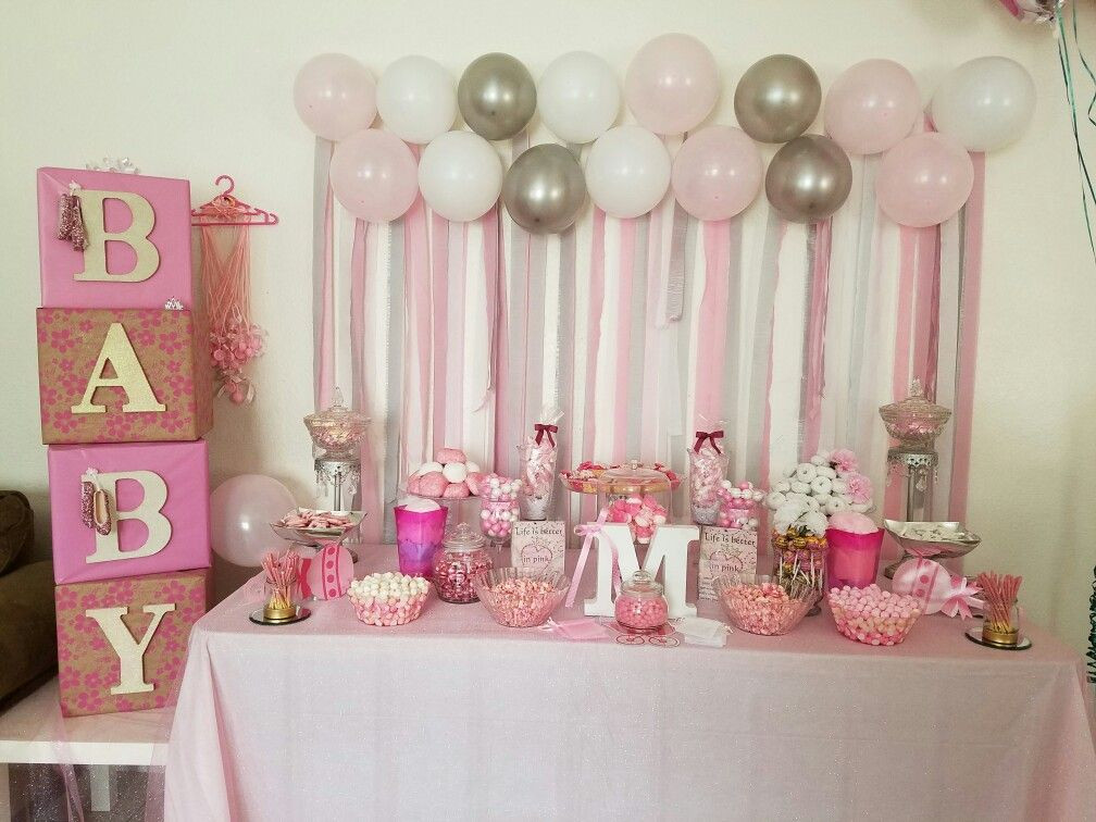 Gift Table Baby Shower Ideas  Pink baby shower table based on ideas from Pintrest
