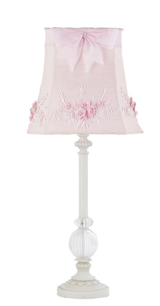 Girls Bedroom Table Lamp  Kids Girls White Table Lamp Glass Pink Shade Nursery