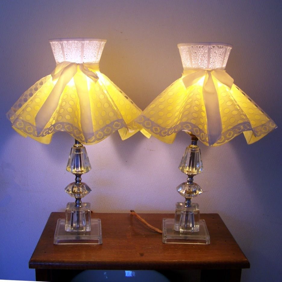 Girls Bedroom Table Lamp  50s pair glass table lamps yellow lace shades girls bedroom
