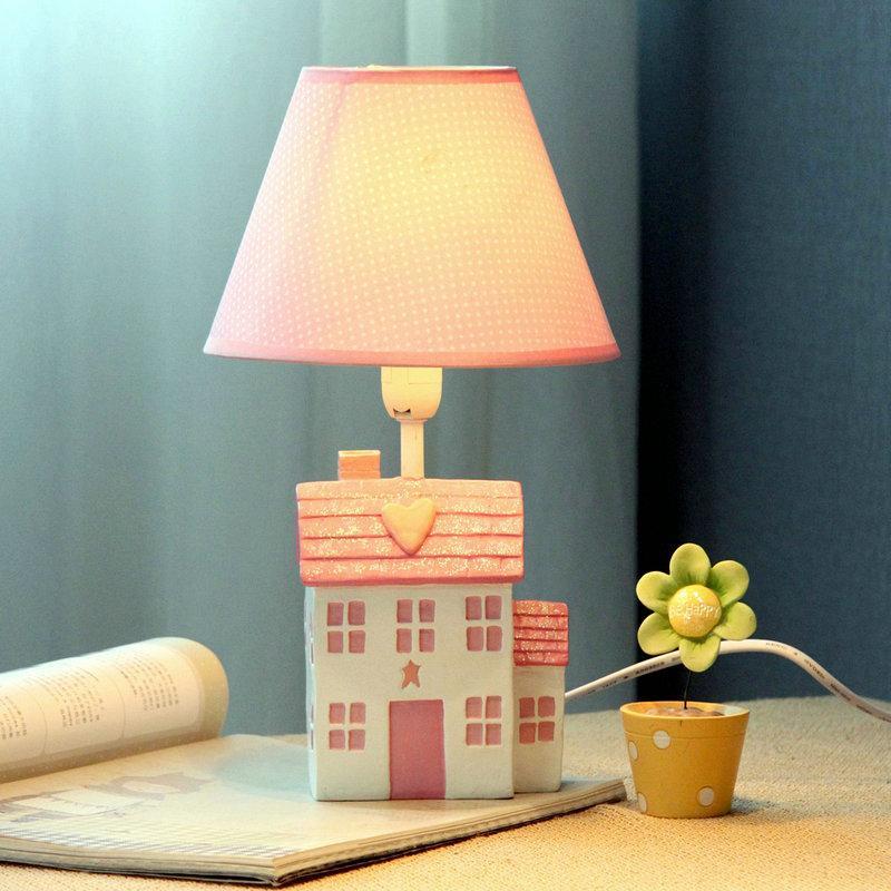Girls Bedroom Table Lamp  Cute Pink Girl s Room Mini Table Lamp Cartoon House
