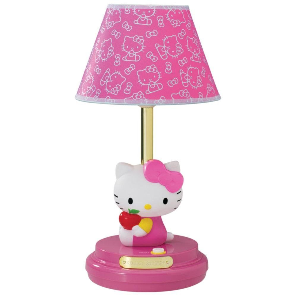 Girls Bedroom Table Lamp  HELLO KITTY PINK DECORATIVE TABLE LAMP KIDS BEDROOM