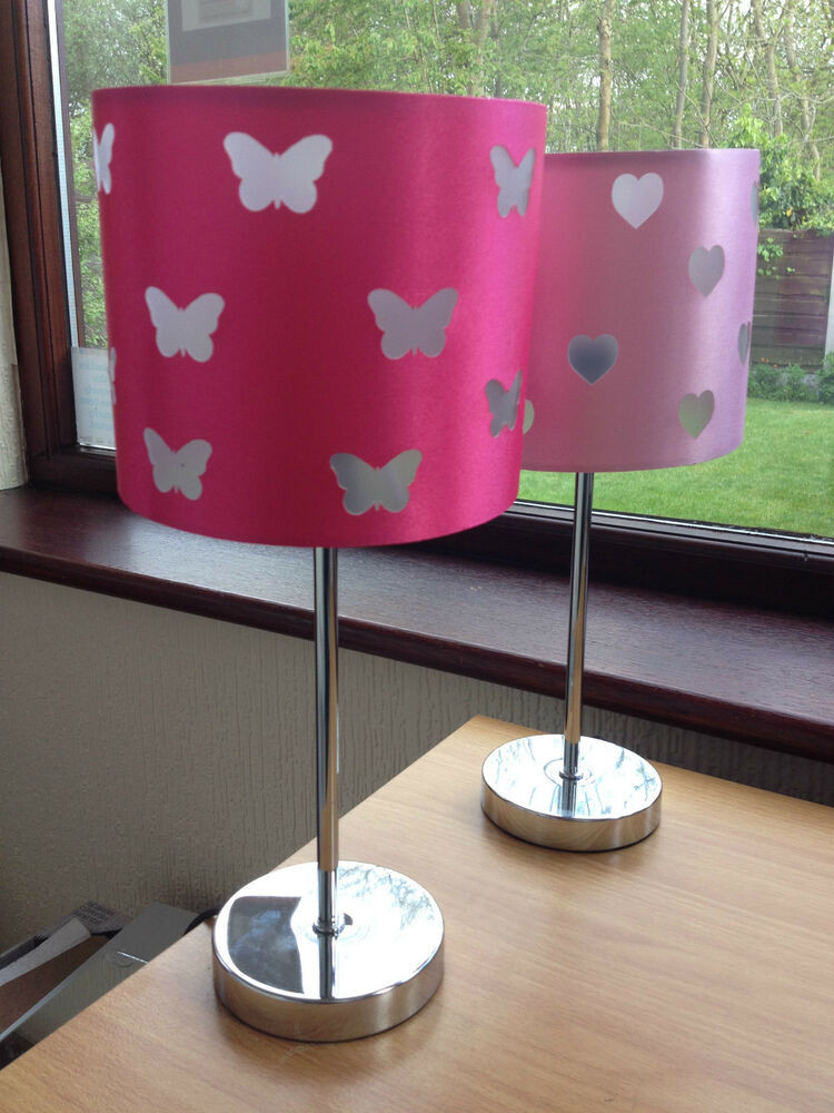 Girls Bedroom Table Lamp  PINK GIRLS ROOM TABLE LAMP BUTTERFLY HEART LAMP GIRLS BED