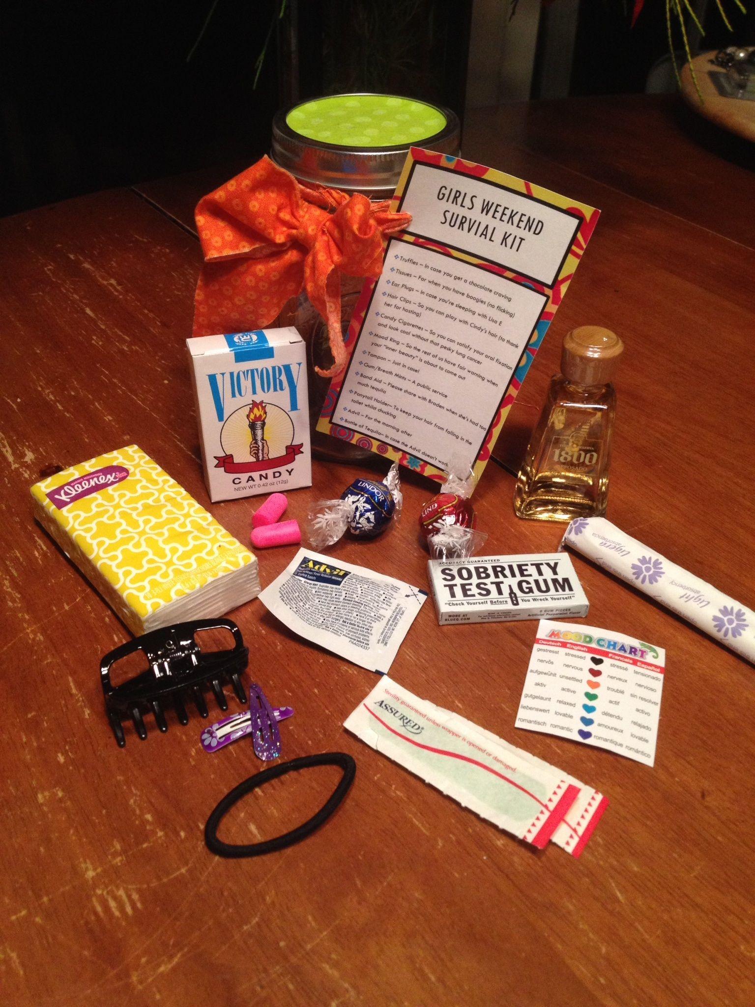 Girls Getaway Gift Ideas  Girls Weekend Survival Kit the ingre nts