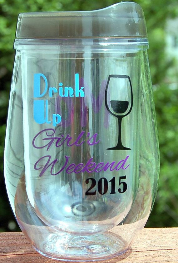 Girls Getaway Gift Ideas  6 PERSONALIZED Girls Weekend ACRYLIC Cups Skinny tumbler