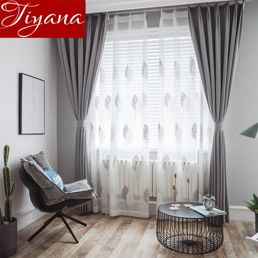 Gray Living Room Curtains  Gray Curtain for Window Bedroom White Sheer Voile Fabrics