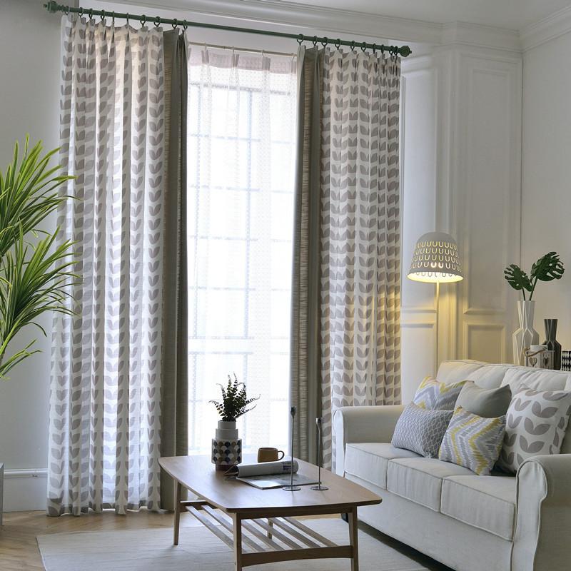 Gray Living Room Curtains  Light Grey Leaf Elegant Living Room Curtains