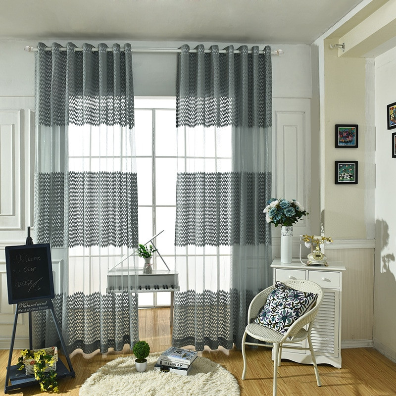 Gray Living Room Curtains  Aliexpress Buy Cheap gray tulle Modern Curtains for
