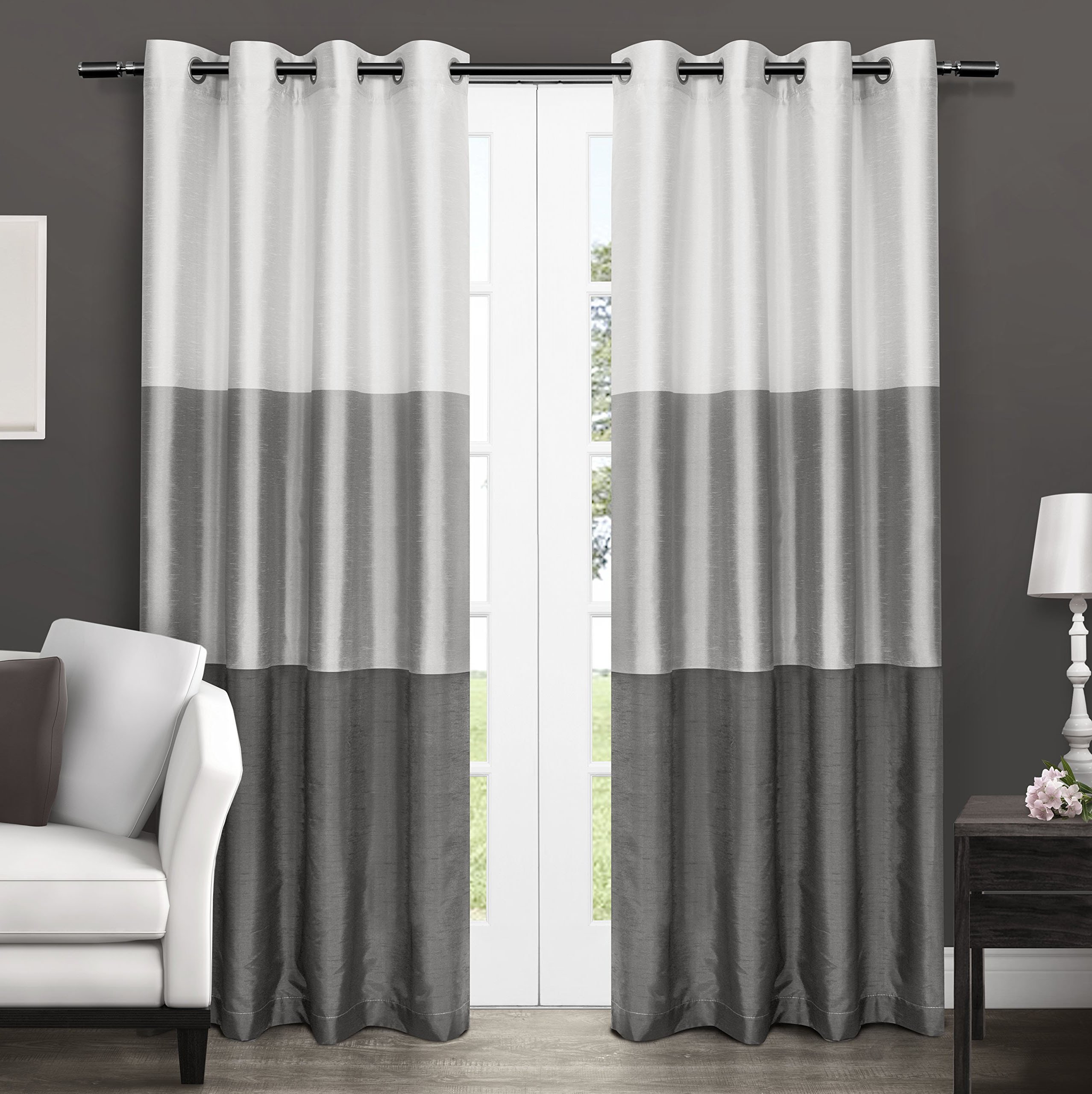 Gray Living Room Curtains  Light Dark Gray Color Block Modern Farmhouse Curtains For