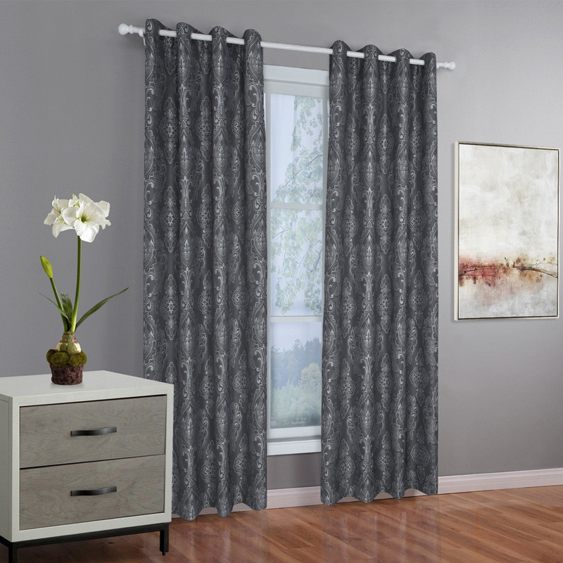 Gray Living Room Curtains  Charcoal Gray Curtains Silver Jacquard Luxury Damask