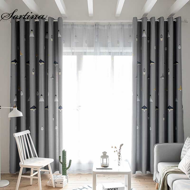 Gray Living Room Curtains  Sortina thicking blackout grey curtain for living room
