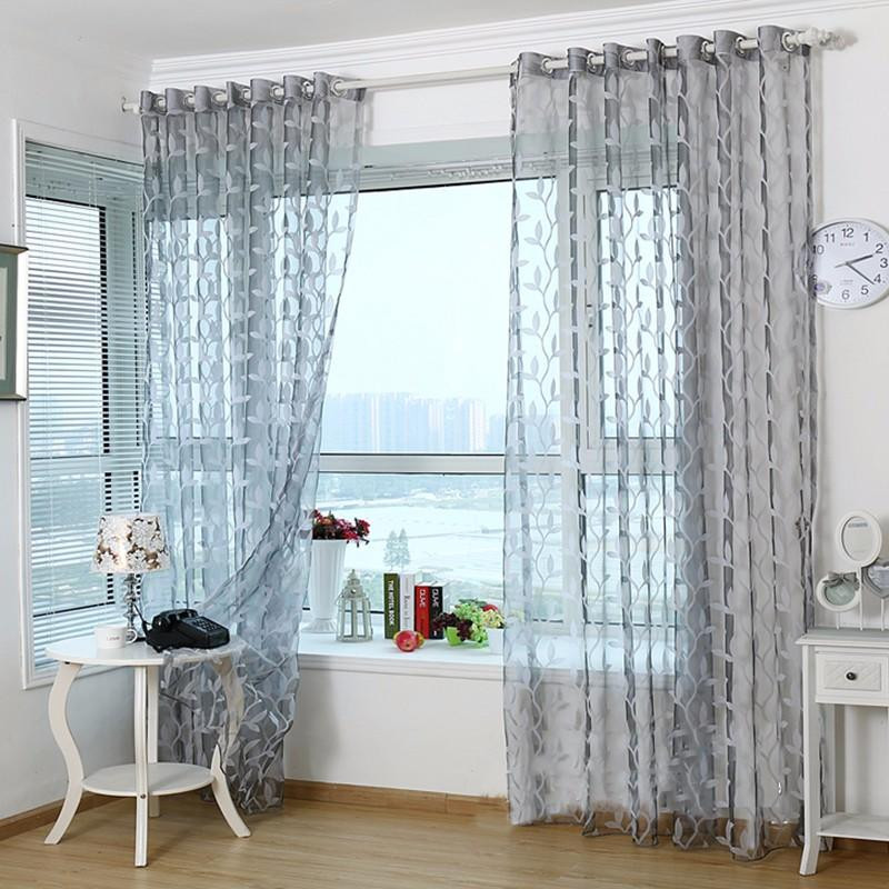 Gray Living Room Curtains  3D Tulle Sheer Curtains For Living Room Light Grey Leaves