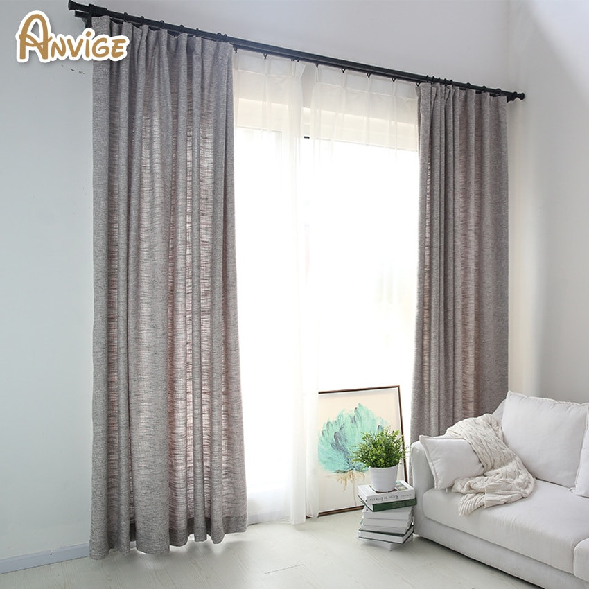 Gray Living Room Curtains  Anvige Modern Linen Cloth Grey Color Blackout Curtains For