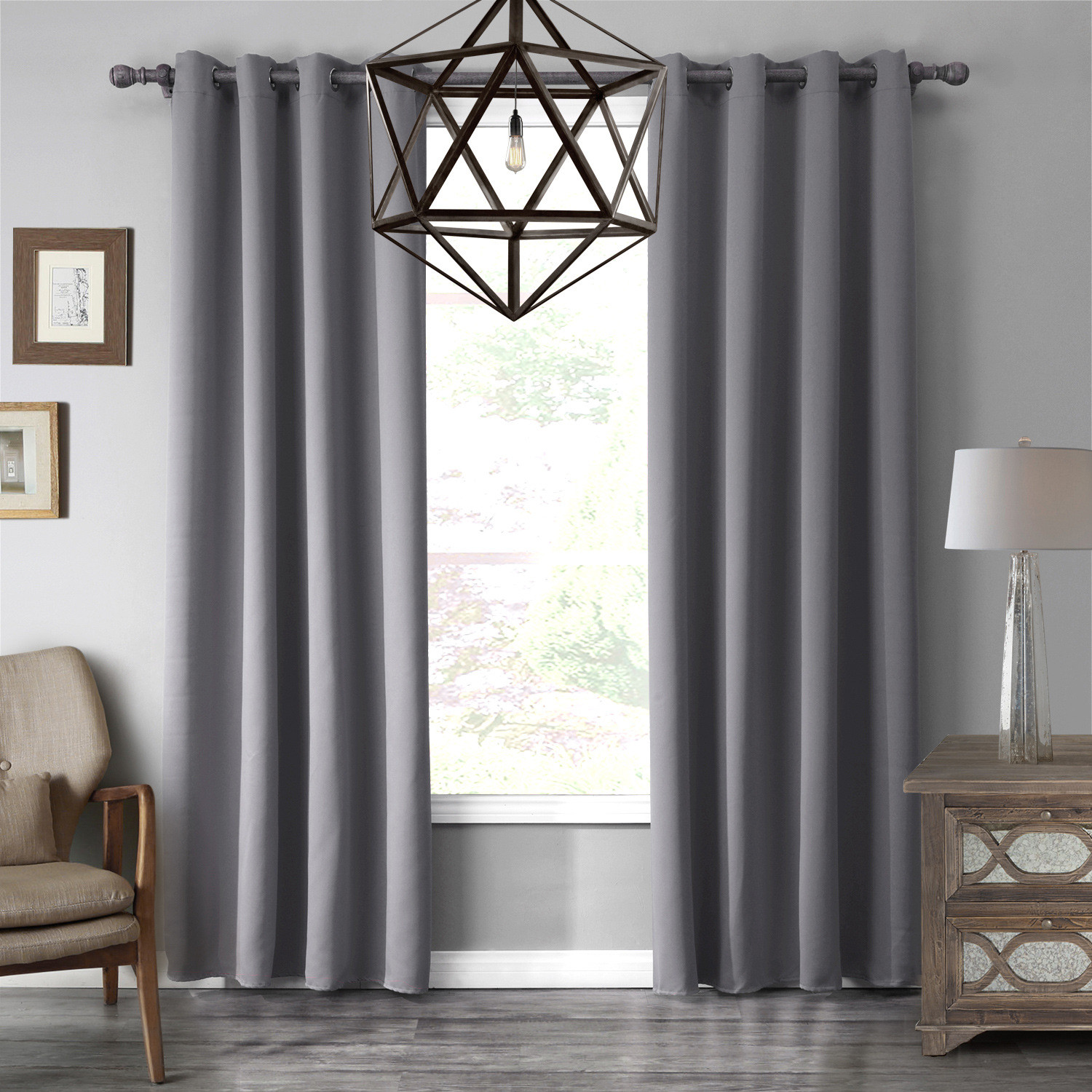 Gray Living Room Curtains  Gray Blackout Thermal Simple Bedroom Living Room Curtains