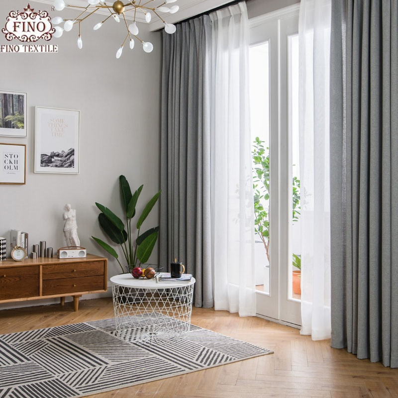 Gray Living Room Curtains  FINO Nordic Gray Solid Curtain Fabrics For Living Room