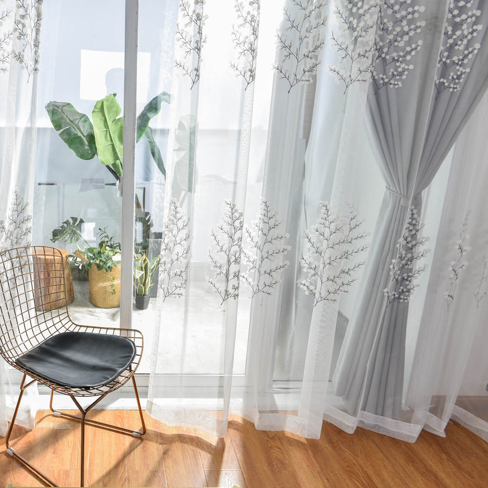 Gray Living Room Curtains  Grey White Curtains for Living Room Embroidered Luxurious