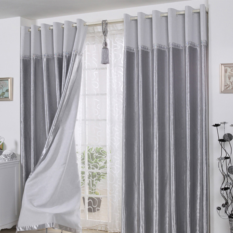 Gray Living Room Curtains  Decorative Polyester Ready made long curtains in gray for