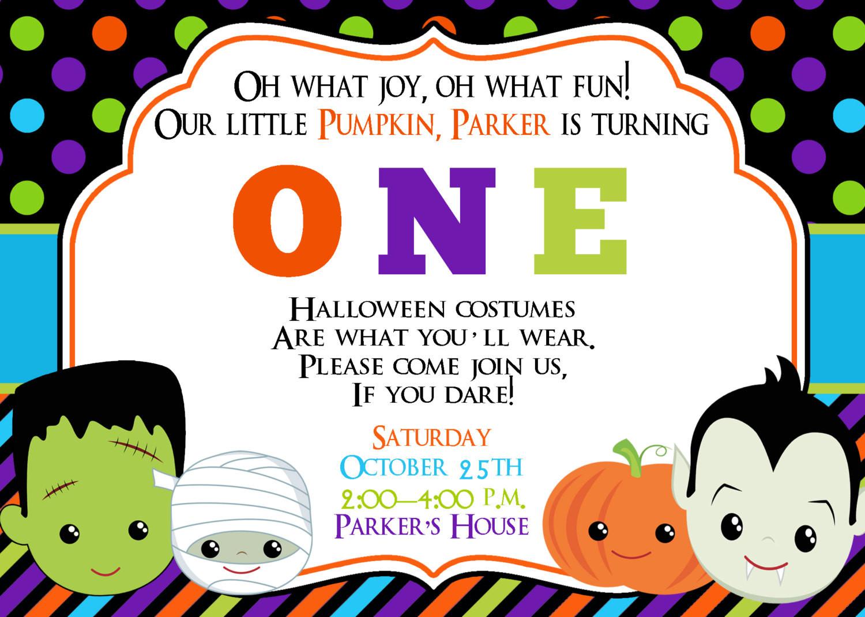 Halloween Birthday Party Invitation Ideas  First Birthday Halloween Party Invitation Halloween Birthday