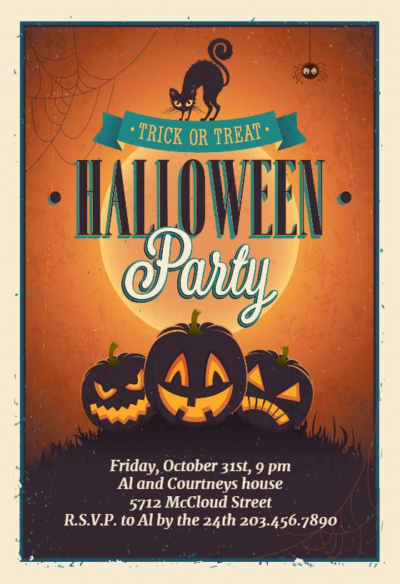 Halloween Birthday Party Invitation Ideas  Vintage Party Halloween Party Invitation Template Free