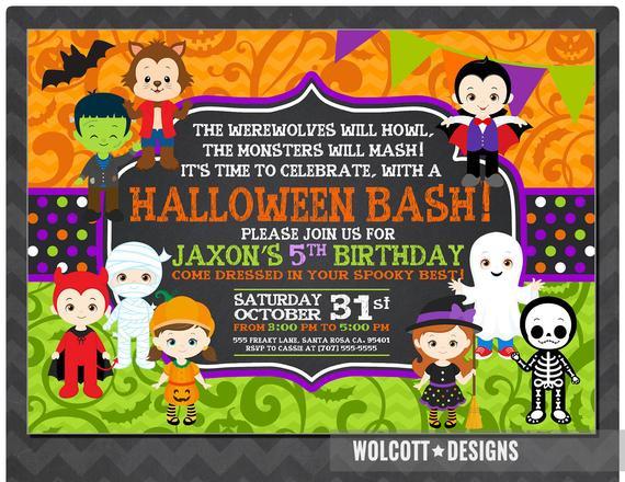 Halloween Birthday Party Invitation Ideas  Halloween Birthday Invitation Kids Halloween Party