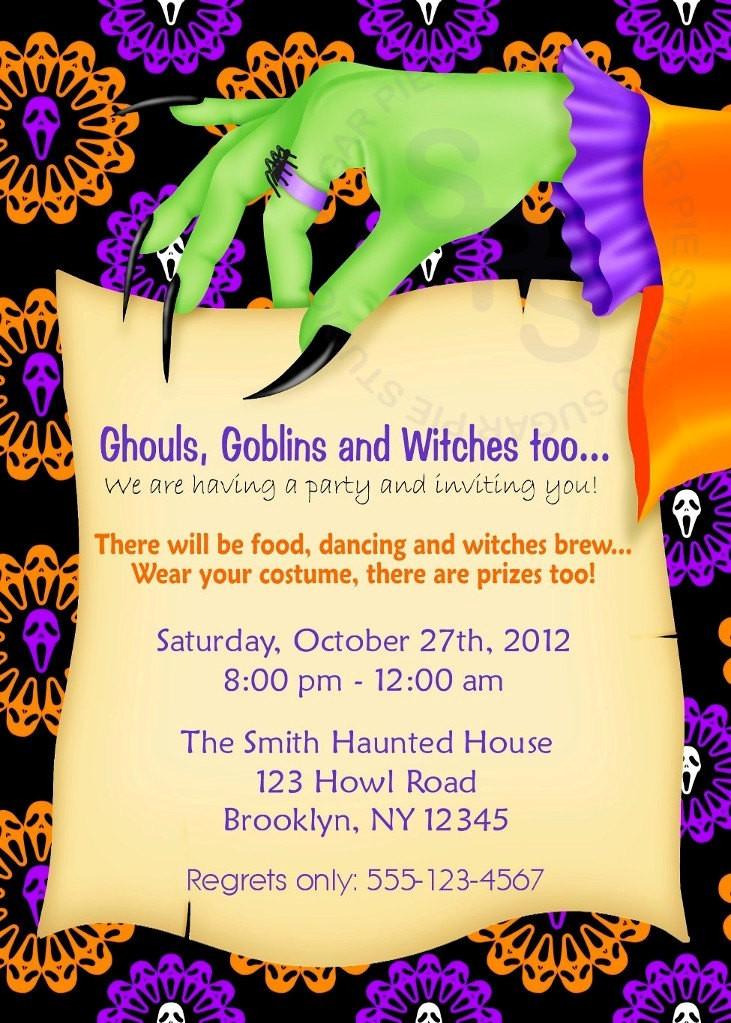 Halloween Birthday Party Invitation Ideas  Printable Halloween Birthday party Invitation Custom