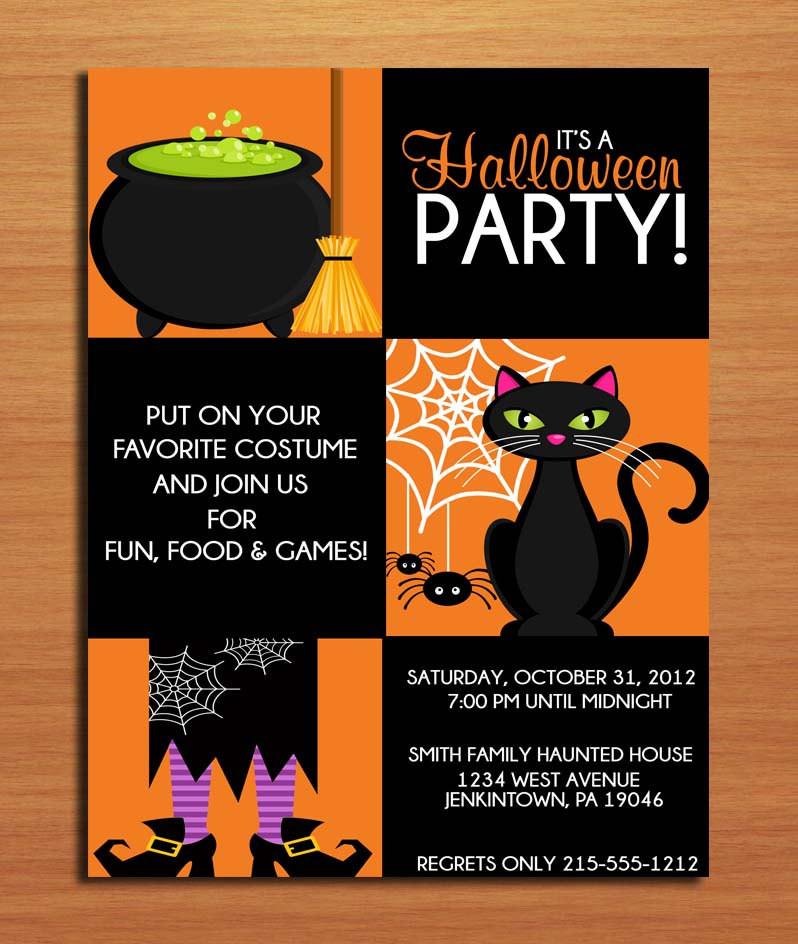 Halloween Birthday Party Invitation Ideas  Witchy Halloween Party Customized Printable Invitations DIY