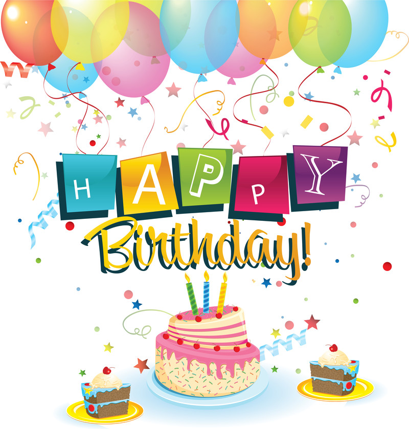 Happy Birthday Cake And Balloons  Happy Birthday with balloons and cake Vector