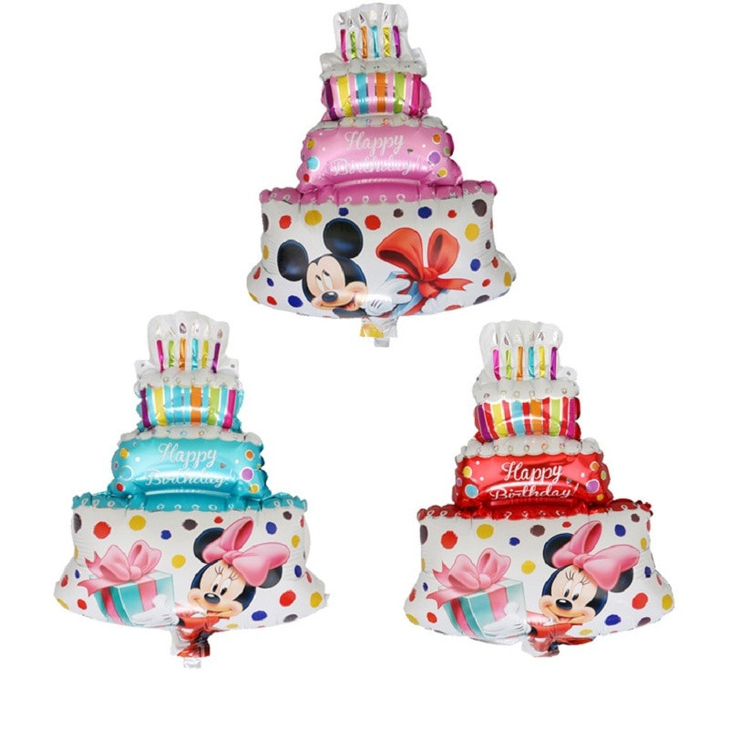 Happy Birthday Cake And Balloons  12Pcs Birthday Cake Balloon Decoration Mickey Minie