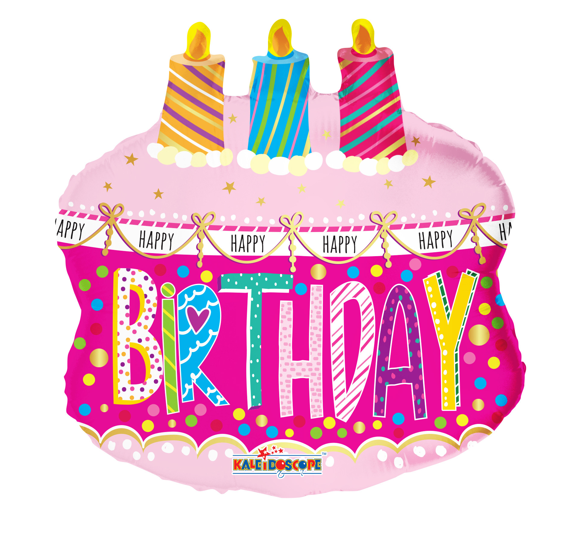 """Happy Birthday Cake And Balloons  20"""" Happy Birthday Cake With Candles Foil Balloon"""