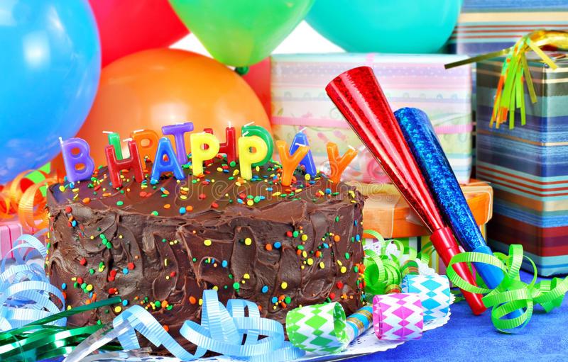 Happy Birthday Cake And Balloons  Happy Birthday Cake And Balloons Stock Image of