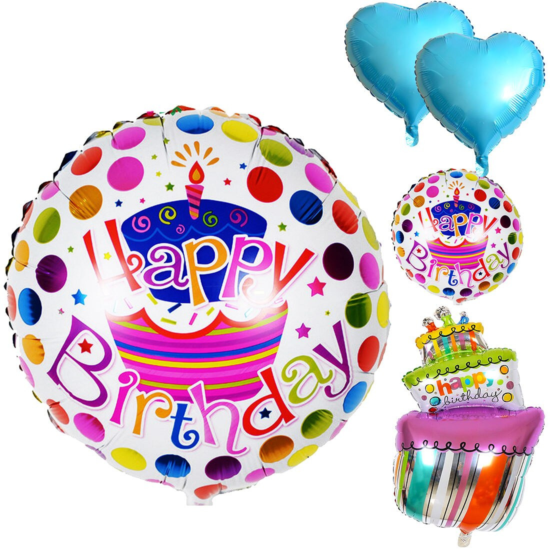 Happy Birthday Cake And Balloons  Party decoration Balloons 5pcs Birthday cake foil balloons