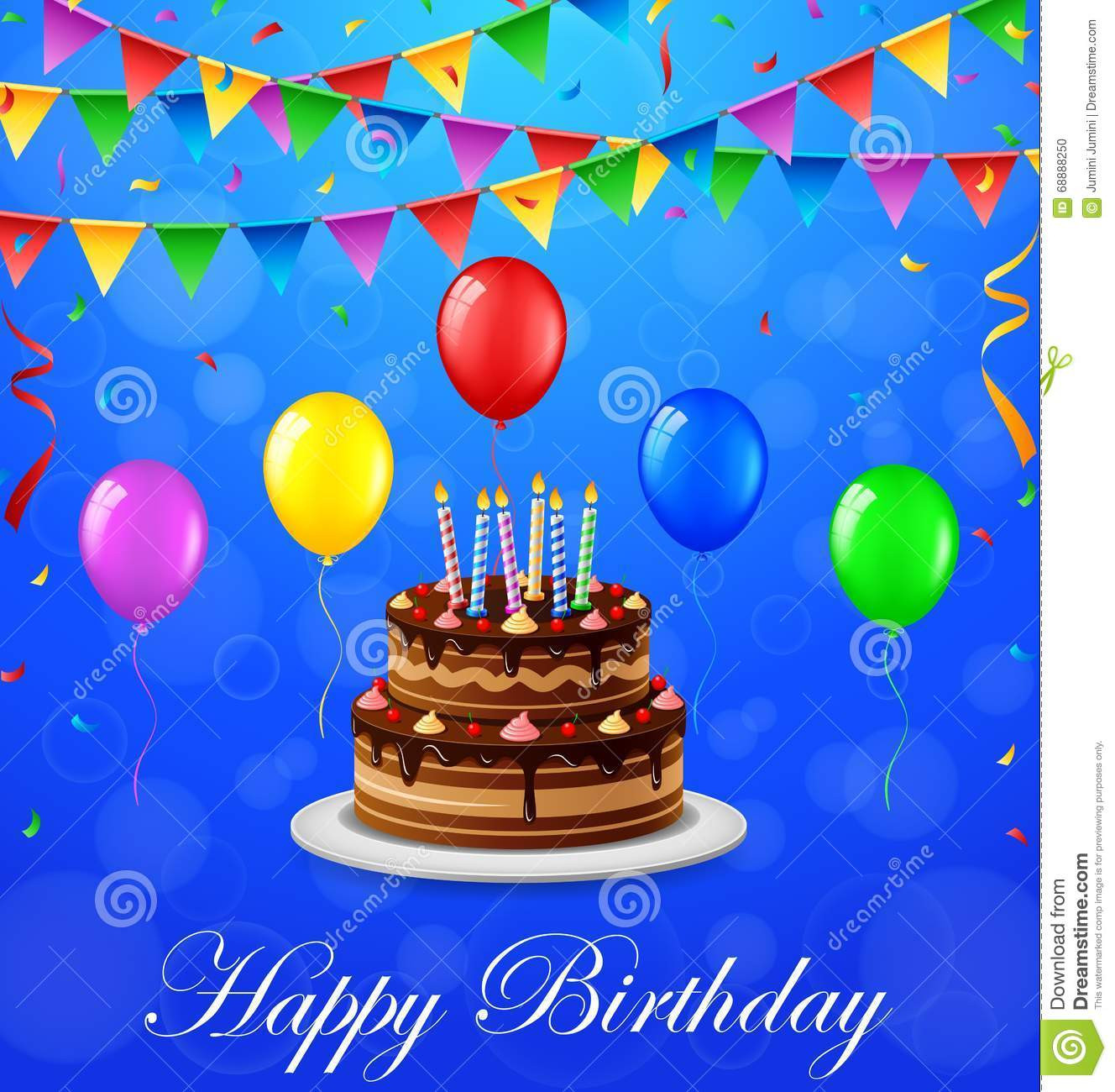 Happy Birthday Cake And Balloons  Happy Birthday Background With Cake And Balloons Stock