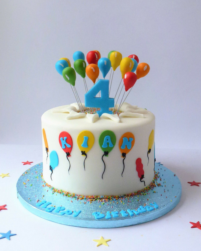 Happy Birthday Cake And Balloons  Birthday Balloons