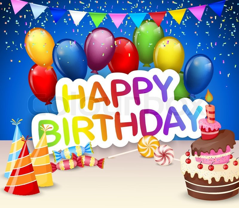Happy Birthday Cake And Balloons  Vector illustration of Birthday Stock Vector