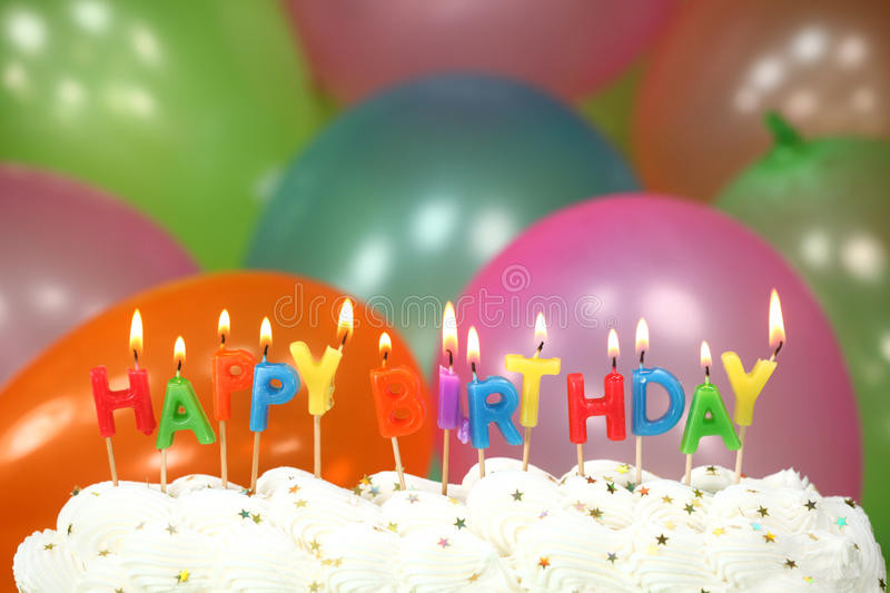 Happy Birthday Cake And Balloons  Celebration With Balloons Candles And Cake Stock