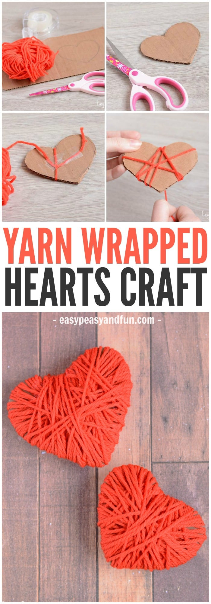 Heart Crafts For Adults  Yarn Wrapped Hearts Craft Valentines Day Crafts Easy