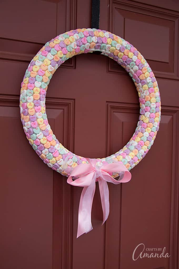 Heart Crafts For Adults  Conversation Heart Wreath a fun Valentine s craft for adults