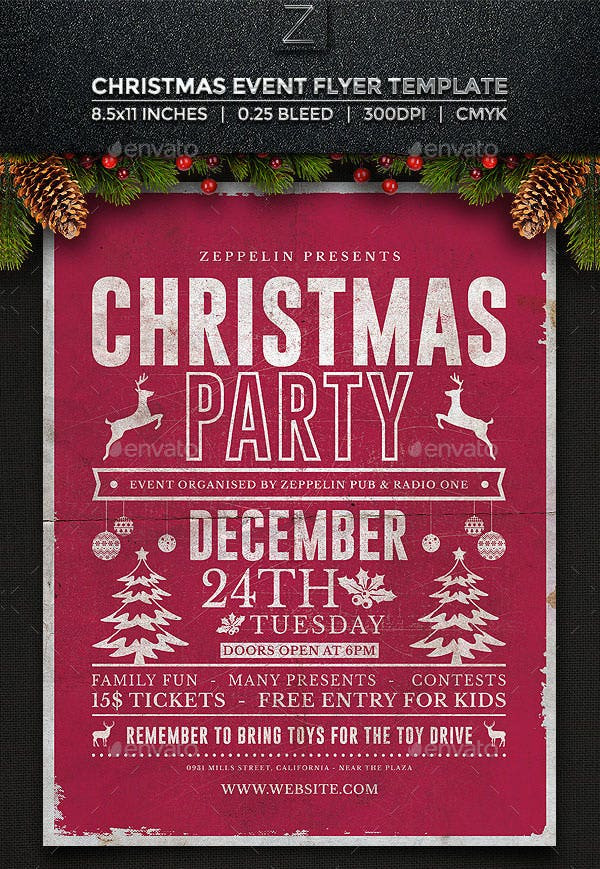 Holiday Party Flyer Ideas  Christmas Door Decorating Contest Flyer Template