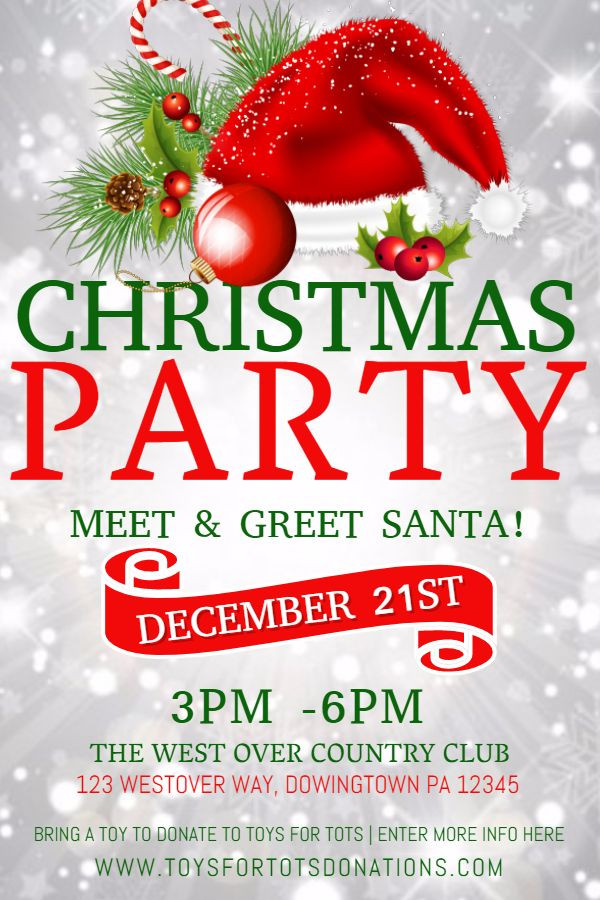 Holiday Party Flyer Ideas  Christmas party poster design template