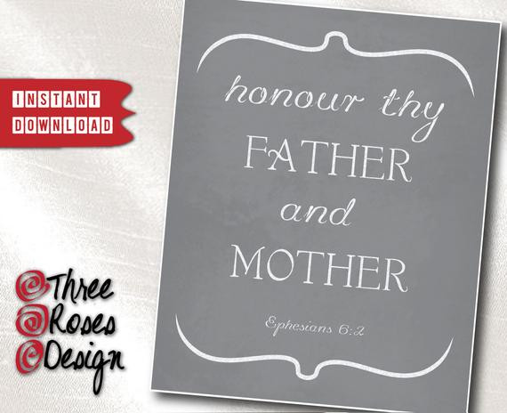 Honor Thy Mother Quotes  Print It Yourself Blackboard Bible Quote Print Honor thy