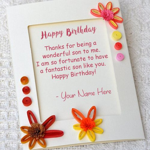 How To Write Birthday Wishes  Son Birthday Wishes Greeting Card Write Name Image line