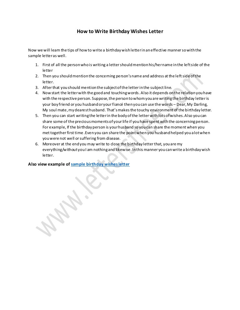 How To Write Birthday Wishes  Tips on How to Write Birthday Wishes Letter