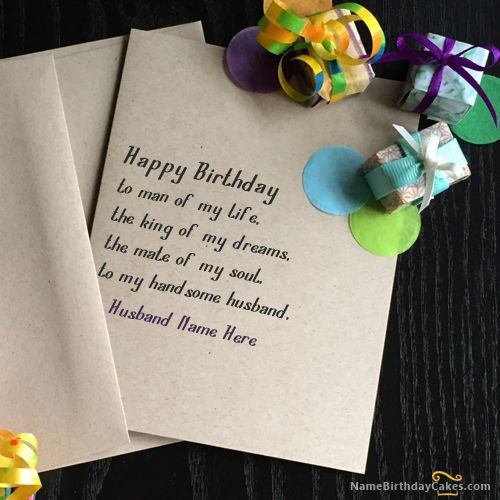 How To Write Birthday Wishes  Write name on Unique Birthday Card for Husband Happy