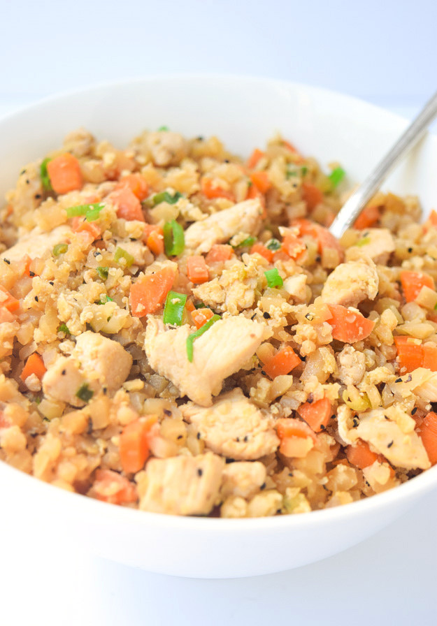 Keto Chicken Fried Rice  Whole30 Cauliflower Chicken Fried Rice Gluten Free Paleo